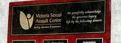 Picture of donation plaque with the Victoria Sexual Assault Centre logo on it
