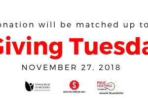 A banner that says: Your donation will be matched up to $2,000. Giving Tuesday, November 27, 2018. Logos of the victoria sexual assault centre, Saxon Media, and Pine Lighting.