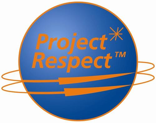 Project Respect TM (logo, a world with orbits in parrellel)
