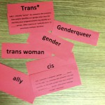 cards on a table: that say: Trans, Genderqueer, Trans woman, Ally, Cis, Gender