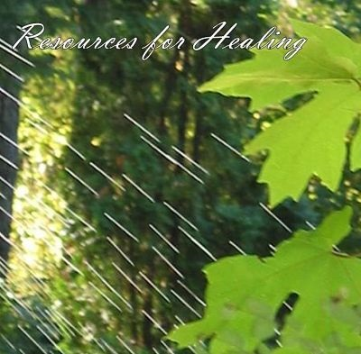 Resources for Healing CD Cover - image of green maple leaves with rain highlighted by sun