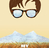 My Prairie Home Poster, prairie landscape, mountains are collard shirt, glasses and hair floating in the air