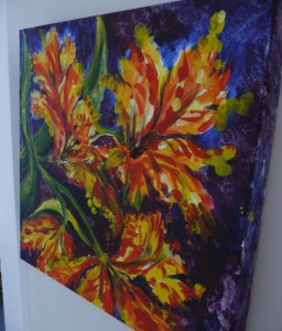 picture of a painting of orange and yellow flowers