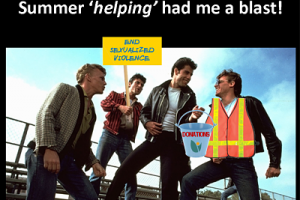 """Summer helping had me a blast"" Picture of John Travolta from the movie Grease and 3 other men with event volunteer gear on."