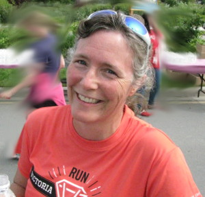 Counsellor Barb smiling after having completed the 2012 5k Goddess Run