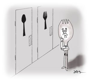 A Spork (combination of spoon and fork) person stands flummoxed in front of two washroom doors - one marked with a fork and one with a spoon.