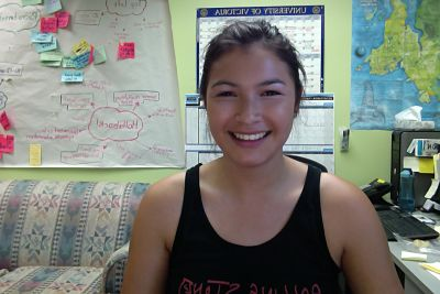 Sage, a new Project Respect summer staff on her first day of work!