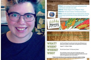 A photo collage of the two event posters, and the summer staff Eunice