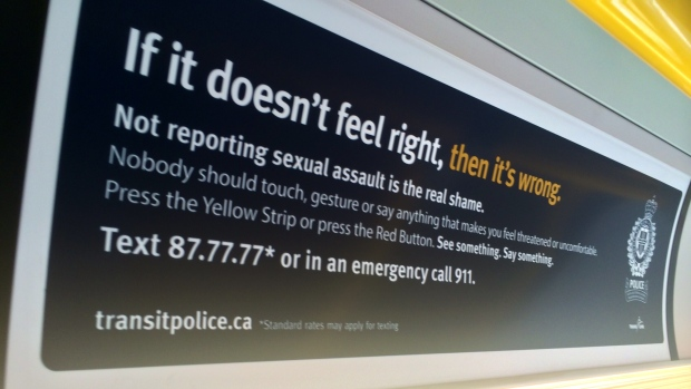"Photo of the advertisement on the Skytrain taken by a cellphone. Reads: ""If it doesn't feel right, then it's wrong. Not reporting sexual assault is the real shame. Nobody should touch, gesture, or say anything that makes you uncomfortable or unsafe."""