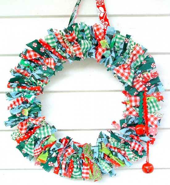 a wreath made of multi-coloured rags