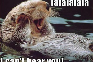An otter covering its ears, with the caption: lalalalala I can't hear you!