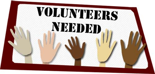 Volunteers Needed Sign Hands Up