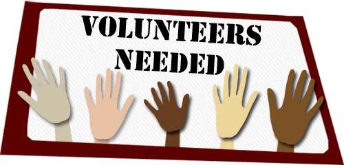 Volunteers Needed Sign Hands Up