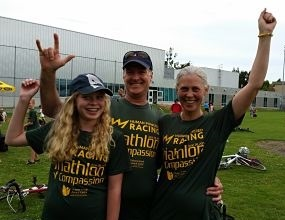 Family participants at the Tri of Compassion celebrating
