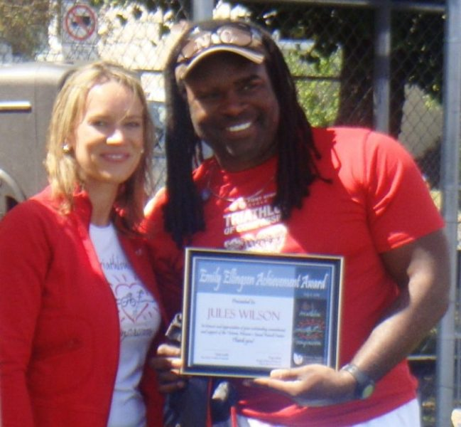 Jules accepting the Emily Ellingsen Award at the 2010 Tri of Compassion