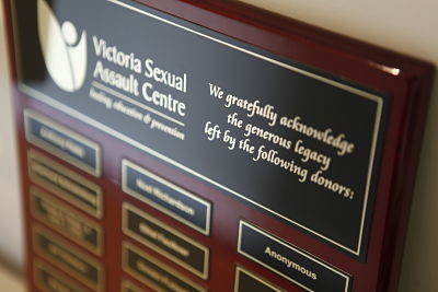 Picture of the Donor Recognition Plaque at the Victoria Sexual Assault Centre