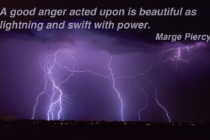 A beautiful picture of lightning with a quote about anger.