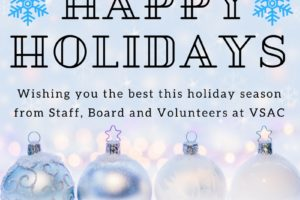 """A holiday card: """"Happy Holidays! Wishing you the best this holiday season from staff, board, and volunteers at VSAC"""""""
