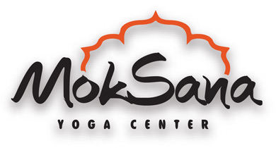 MokSana Yoga Centre logo written in black with an orange flower-like design on top of the text.