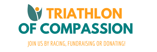 Triathlon of Compassion. Join us by racing, fundraising or donating. green and yellow writing on white background.