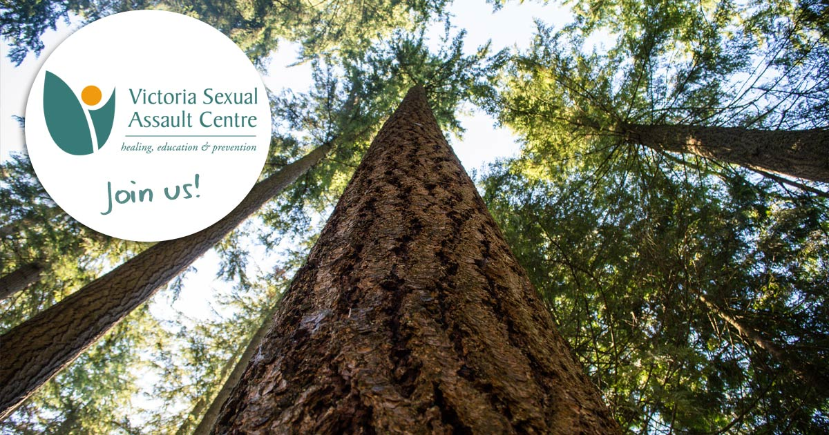 The VSAC logo floats overtop of a forest canopy from the island and the card says, join us!
